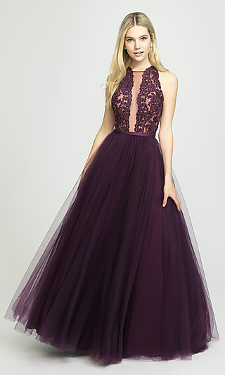 A-Line Long Prom Dress with Illusion Halter Bodice