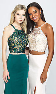 Image of two-piece long prom dress with beaded-lace top. Style: NM-19-201 Detail Image 3