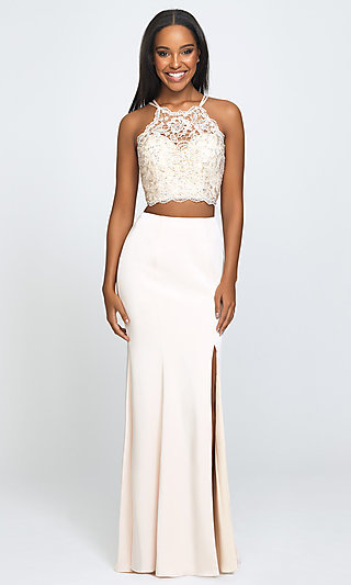 Two-Piece Long Prom Dress with Beaded-Lace Top