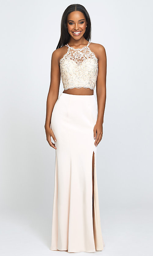 Image of two-piece long prom dress with beaded-lace top. Style: NM-19-201 Front Image