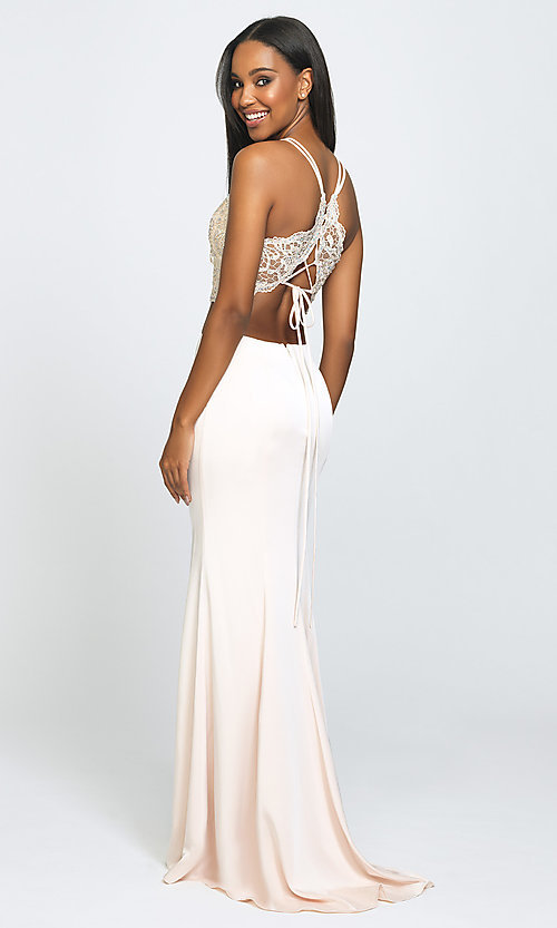 Image of two-piece long prom dress with beaded-lace top. Style: NM-19-201 Back Image