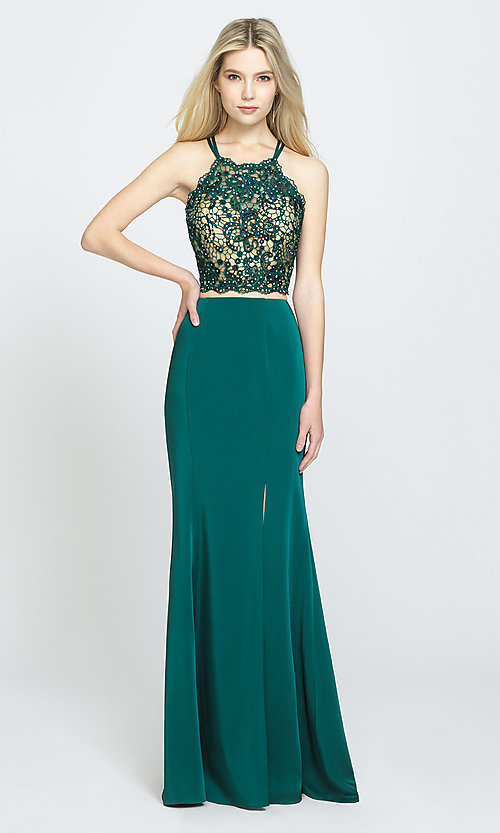 Image of two-piece long prom dress with beaded-lace top. Style: NM-19-201 Detail Image 2