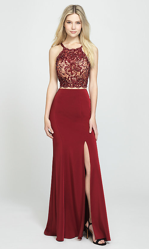 Image of two-piece long prom dress with beaded-lace top. Style: NM-19-201 Detail Image 1