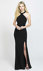 Image of long racerback prom dress by Madison James. Style: NM-19-203 Detail Image 3