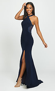 Image of long racerback prom dress by Madison James. Style: NM-19-203 Detail Image 1