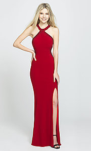 Image of long racerback prom dress by Madison James. Style: NM-19-203 Front Image