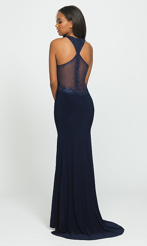 Image of long racerback prom dress by Madison James. Style: NM-19-203 Back Image