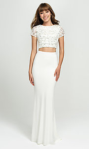 Image of sleeved two-piece long prom dress by Madison James. Style: NM-19-207 Front Image