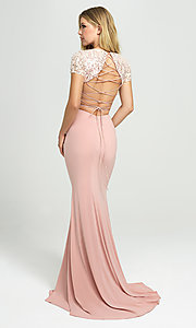 Image of sleeved two-piece long prom dress by Madison James. Style: NM-19-207 Back Image