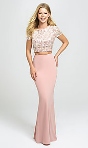 Image of sleeved two-piece long prom dress by Madison James. Style: NM-19-207 Detail Image 1