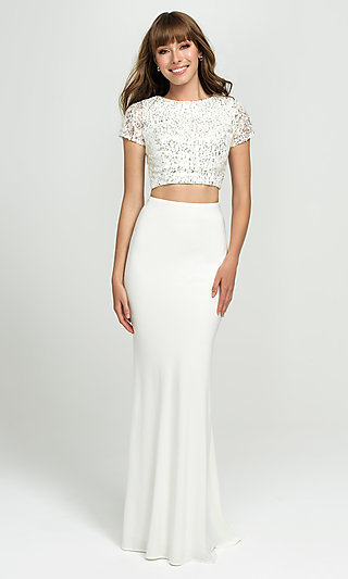 Sleeved Two-Piece Long Prom Dress by Madison James