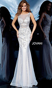 Image of Jovani sheer-bodice long beaded trumpet prom dress. Style: JO-02580 Front Image