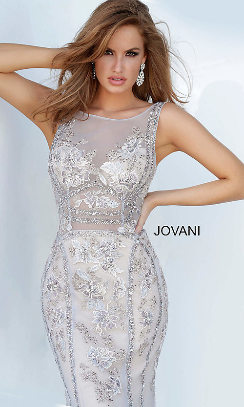 Image of Jovani sheer-bodice long beaded trumpet prom dress. Style: JO-02580 Detail Image 1