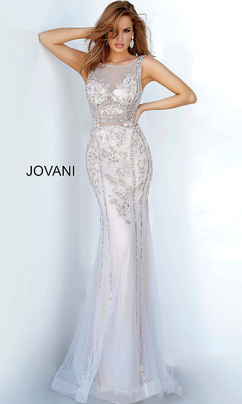 Image of Jovani sheer-bodice long beaded trumpet prom dress. Style: JO-02580 Detail Image 2