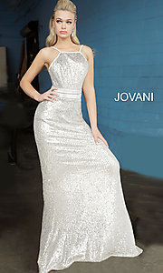 Image of long sequin silver formal prom dress by Jovani. Style: JO-4222 Detail Image 2