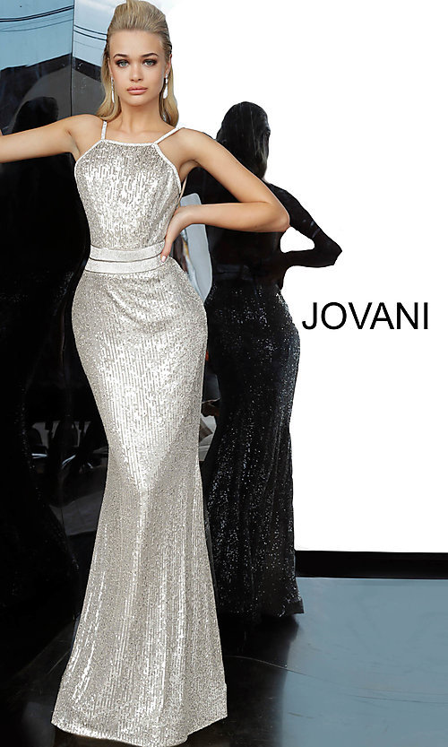 Image of long sequin silver formal prom dress by Jovani. Style: JO-4222 Front Image