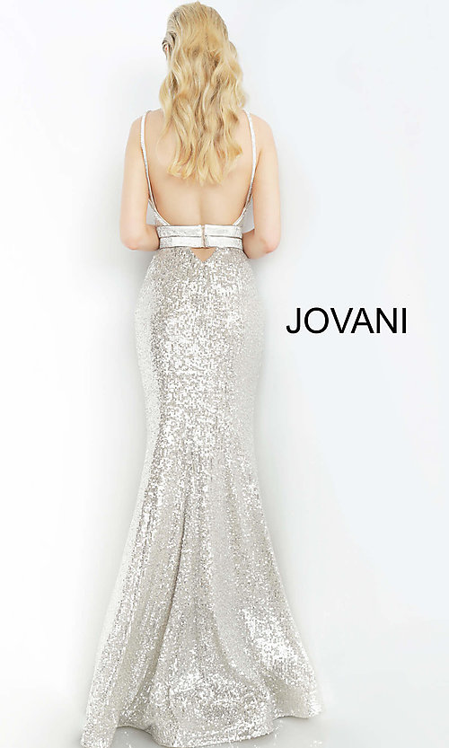 Image of long sequin silver formal prom dress by Jovani. Style: JO-4222 Back Image