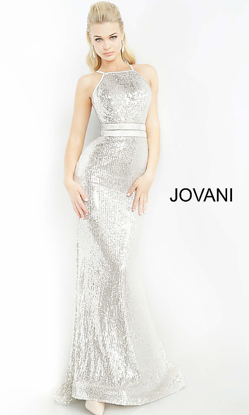 Image of long sequin silver formal prom dress by Jovani. Style: JO-4222 Detail Image 1