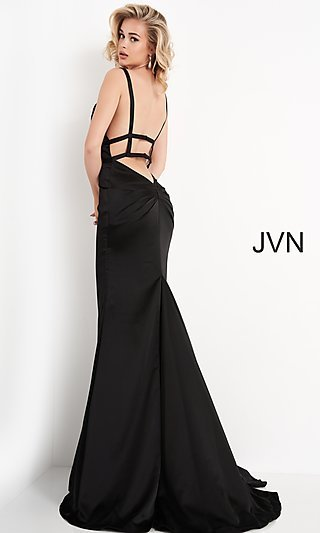 Long V-Neck JVN by Jovani Satin Prom Dress