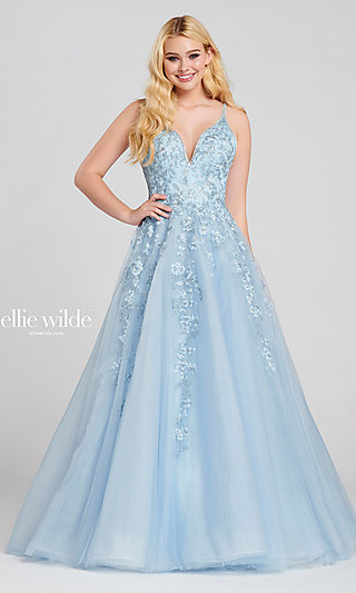 Long Ballgown-Style Embroidered Designer Prom Dress