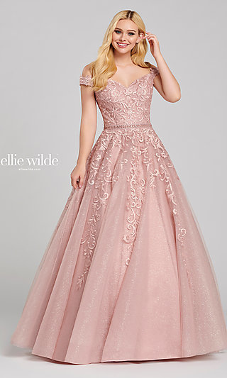 Long Glitter Off-the-Shoulder Ballgown for Prom