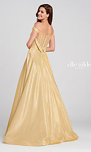 Image of long glitter a-line prom dress with tuxedo back. Style: TB-EW120064 Front Image