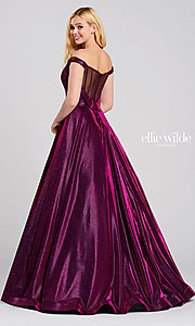 Image of long glitter a-line prom dress with tuxedo back. Style: TB-EW120064 Detail Image 3