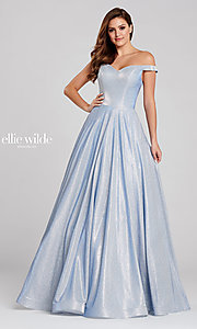 Image of long glitter a-line prom dress with tuxedo back. Style: TB-EW120064 Detail Image 5
