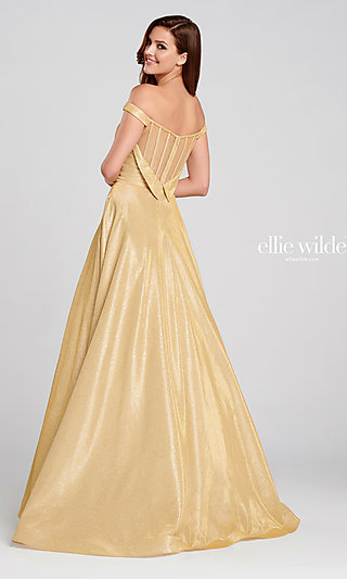Long Glitter A-Line Prom Dress with Tuxedo Back