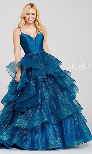 Ballgown for Prom with a Glittering Tiered Skirt