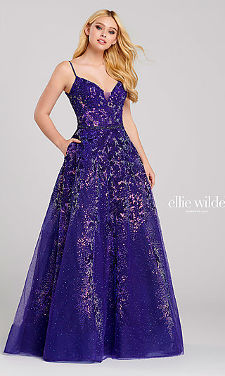 Long A-Line Glitter Prom Dress with a Sheer Waist
