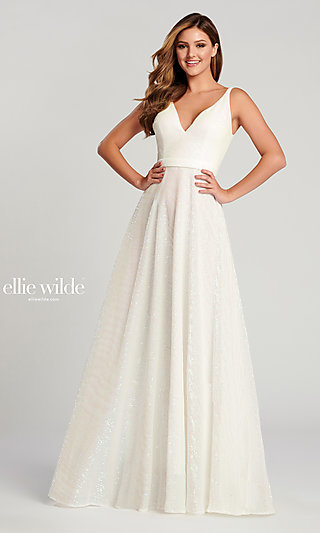 Long Ellie Wilde Sequin Ballgown-Style Prom Dress