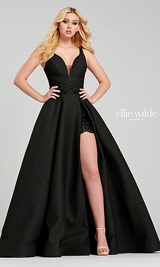 Long Black Sparkly Prom Dress with Lace Shorts