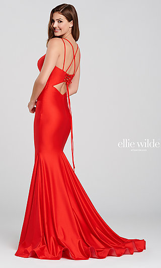 Long Fitted V-Neck Prom Dress with a Back Cut-Out