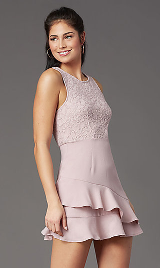 Short Sleeveless Mauve Graduation Dress