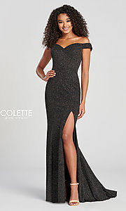 Image of fitted glitter prom dress by Colette for Mon Cheri. Style: TB-CL12028 Detail Image 3