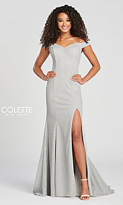 Image of fitted glitter prom dress by Colette for Mon Cheri. Style: TB-CL12028 Detail Image 5