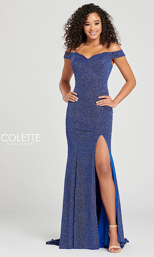 Image of fitted glitter prom dress by Colette for Mon Cheri. Style: TB-CL12028 Front Image