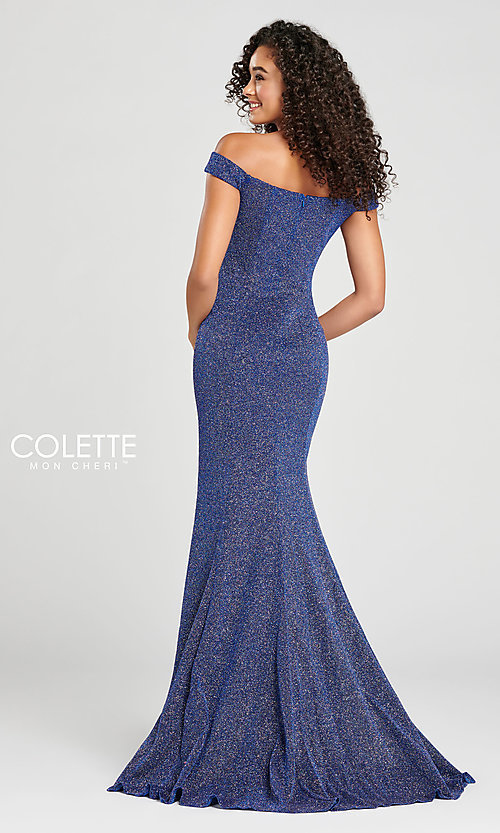 Image of fitted glitter prom dress by Colette for Mon Cheri. Style: TB-CL12028 Back Image