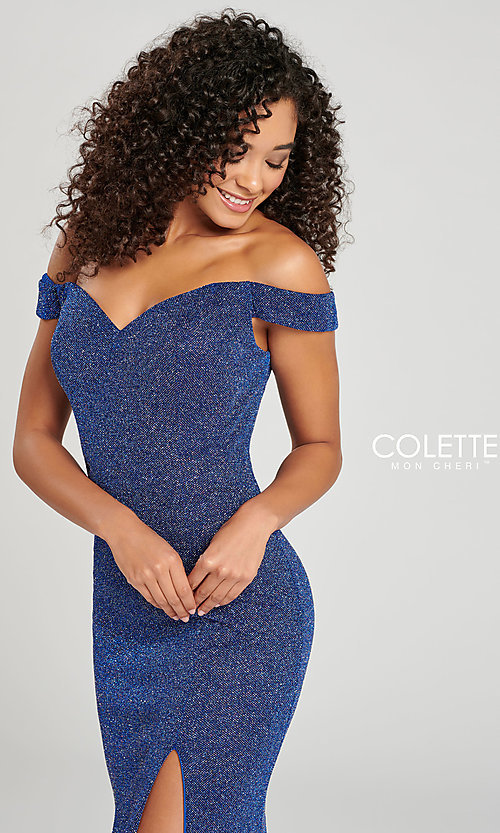 Image of fitted glitter prom dress by Colette for Mon Cheri. Style: TB-CL12028 Detail Image 1
