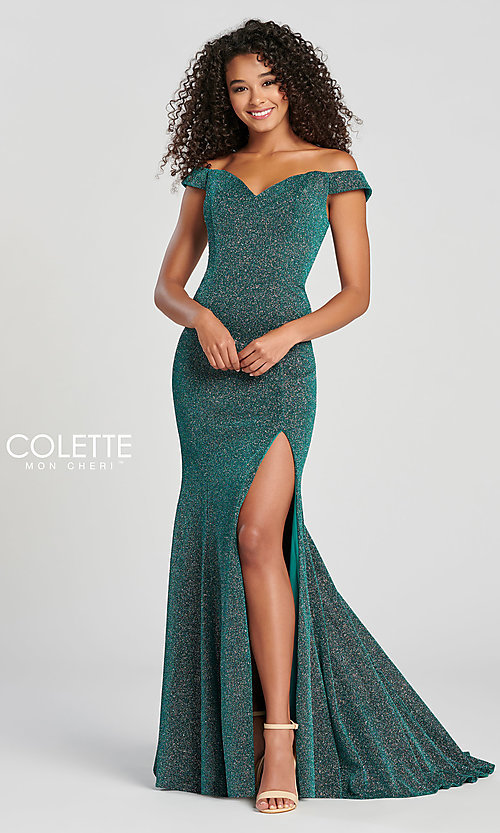 Image of fitted glitter prom dress by Colette for Mon Cheri. Style: TB-CL12028 Detail Image 7