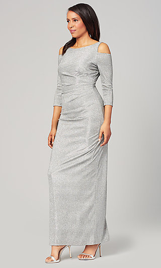 Pewter Silver Glitter Mother-of-the-Bride Dress