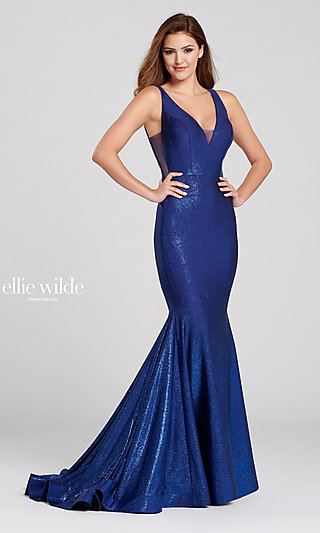 Long Metallic Blue V-Neck Mermaid-Style Prom Dress