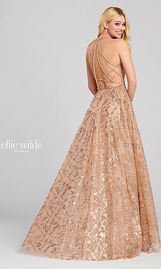 Long Beaded A-Line Prom Dress with an Open Back