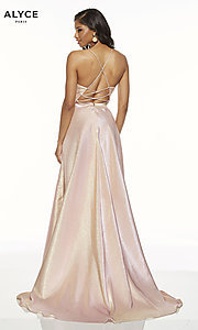 Image of Alyce high-low metallic formal prom dress. Style: AL-60712 Back Image