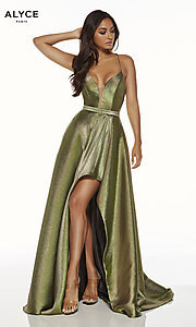 Image of Alyce high-low metallic formal prom dress. Style: AL-60712 Front Image