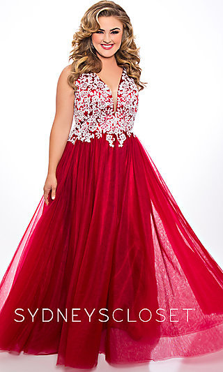 Long Plus-Size Tulle Embroidered Bodice Prom Dress