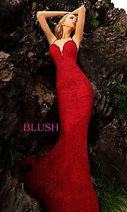 Image of long formal sweetheart lace prom dress by Blush. Style: BL-11905 Front Image