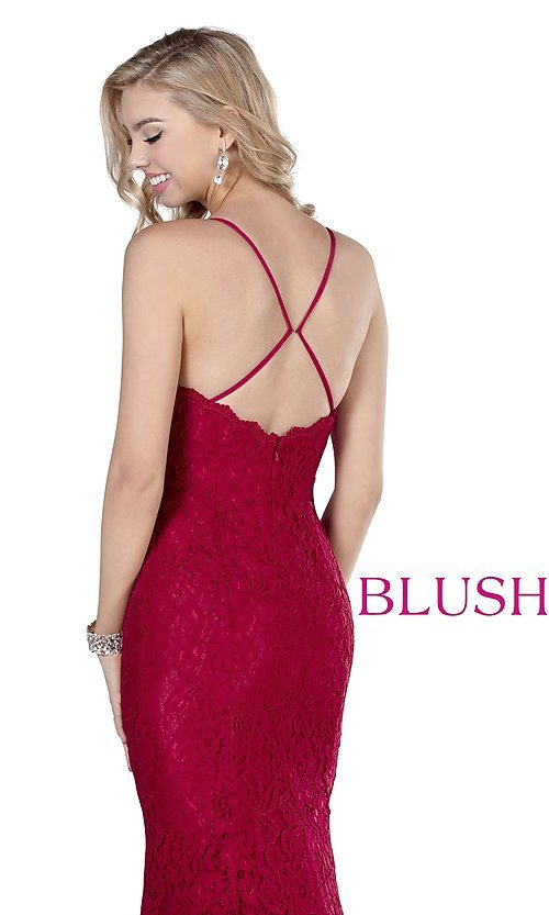 Image of long formal sweetheart lace prom dress by Blush. Style: BL-11905 Detail Image 2