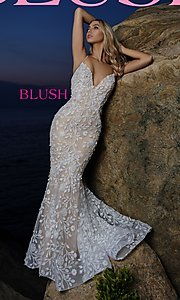 Image of long mermaid-style prom dress with lace applique. Style: BL-11979 Front Image